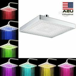 """8"""" LED Shower Head Light Rainfall Square 7 Color Changing Ba"""