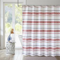 Bohemian White Red Striped Shower Curtains for Bathroom Wate