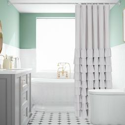 """HIG Farmhouse Style White Ruffle Shower Curtain 72"""" in Long"""