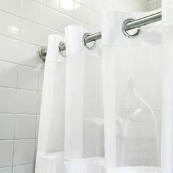 Hookless Shower Curtain White Polyester Snap-On Removable Li