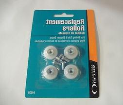 """LOT OF FOUR 3/4"""" FLAT SHOWER DOOR ROLLERS WITH SCREWS"""