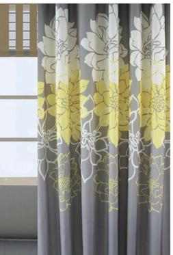 Shower Curtain 72x78 Inches. Gray, Yellow And White Flowers.