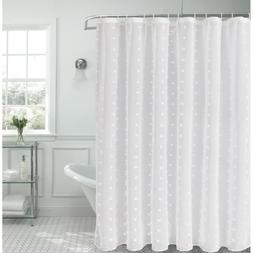 Snowball 72 in. Linen Look Fabric Shower Curtain