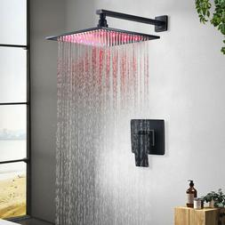 Oil Rubbed Bronze 8 inch LED Rainfall Shower Combo Set with