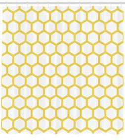 Yellow and White Shower Curtain Hexagonal Comb Print for Bat